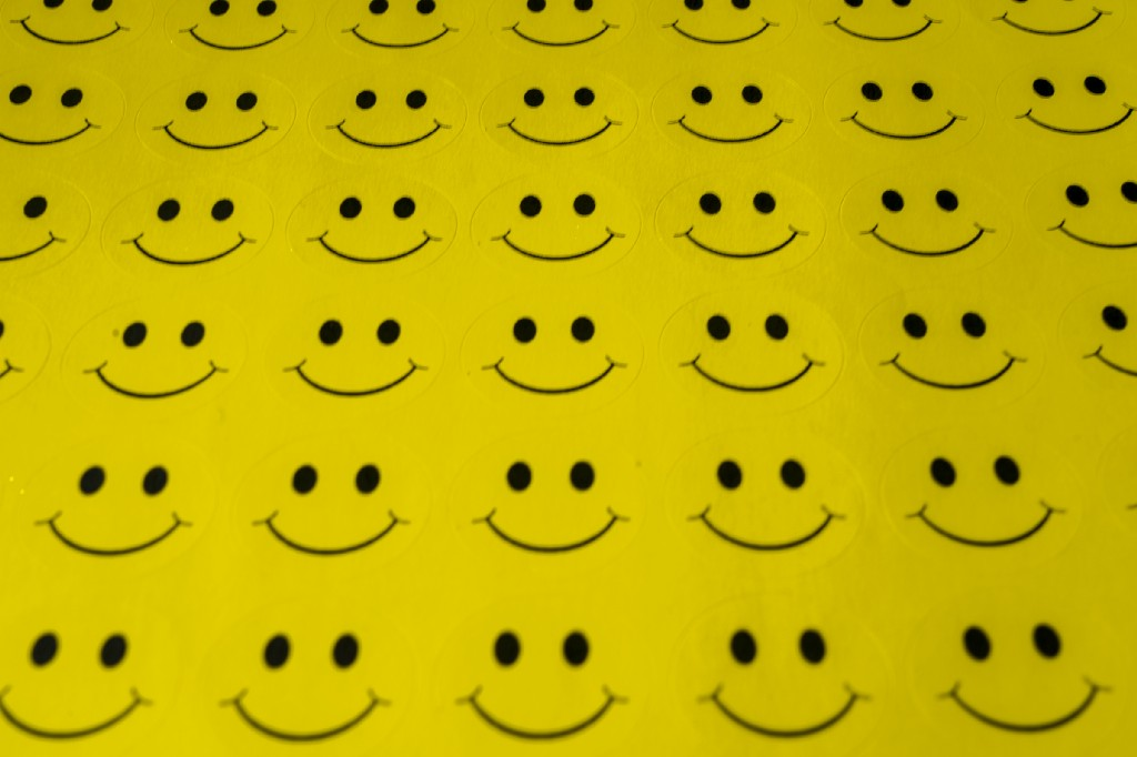 identical yellow smiley faces