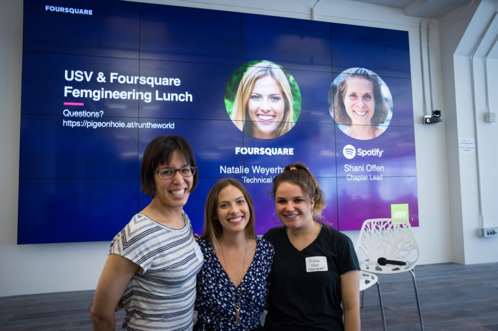 Foursquare engineers Stephanie Yang, Natalie Weyerhaeuser and Diana Stan