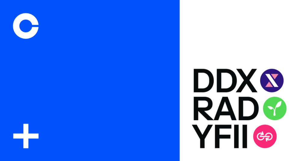 DerivaDAO (DDX), DFI.money (YFII) and Radicle (RAD) are now available on Coinbase thumbnail