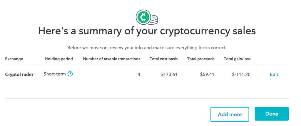 Enter cryptocurrency transactions turbotax