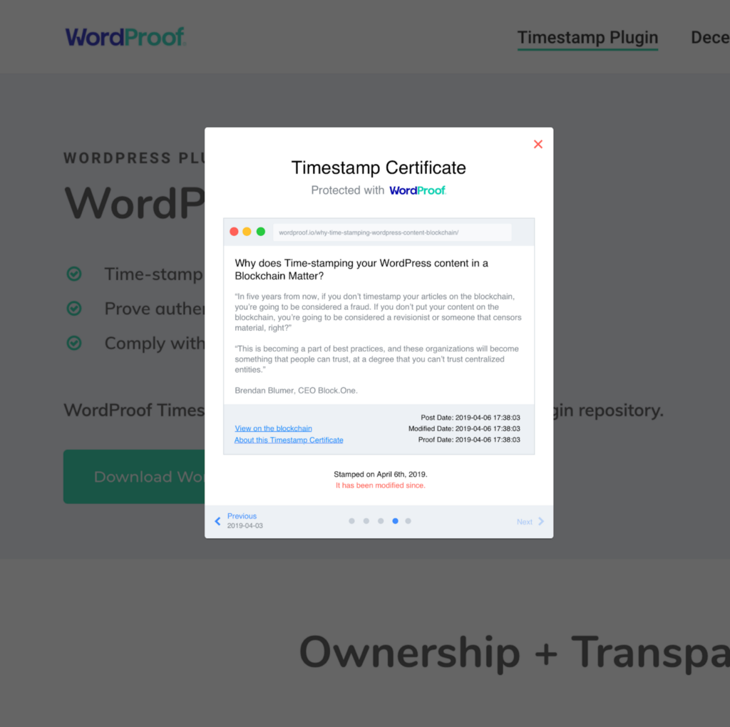 WordProof Puts Content Trusted Timestamping on EOSIO Blockchains