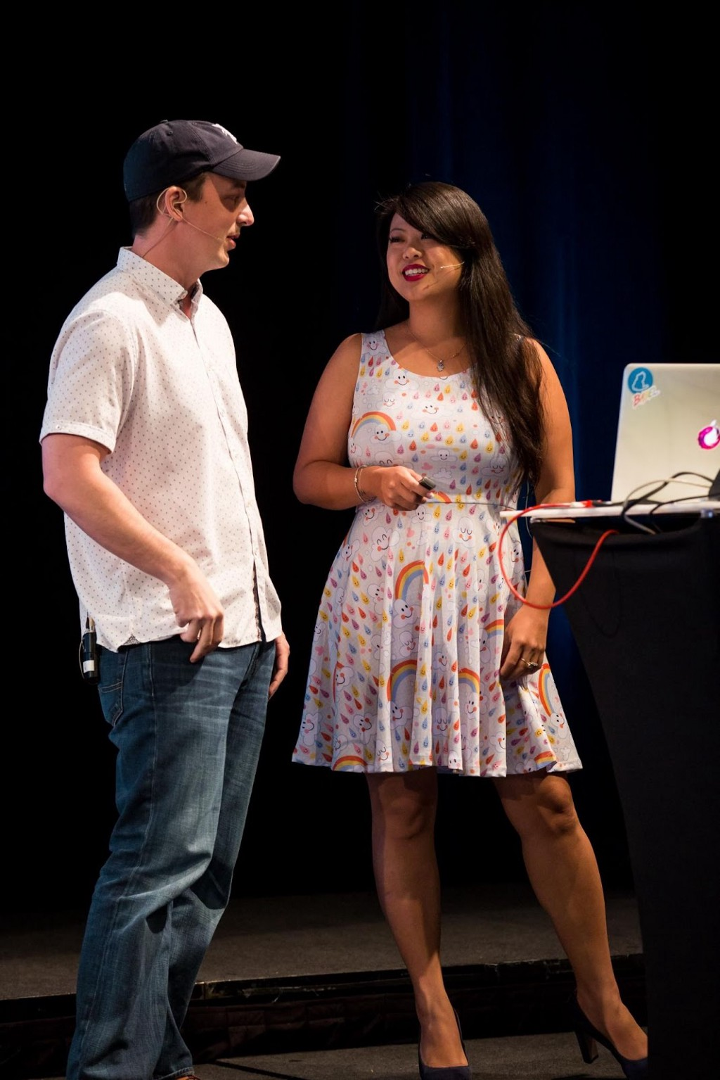 Tracy Lee and Ben Lesh talking on a stage