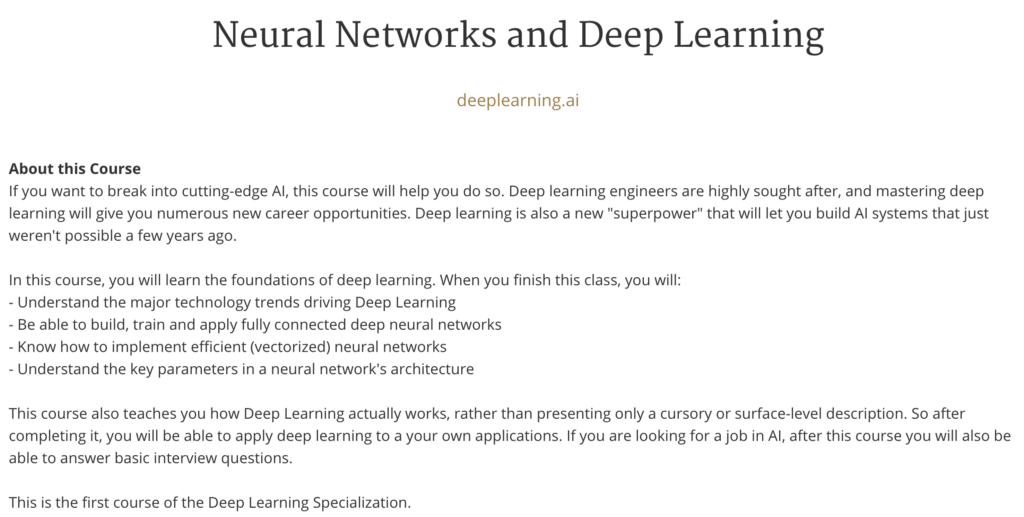 Deep Learning by Andrew Ng (deeplearning ai): A Course-by-Course