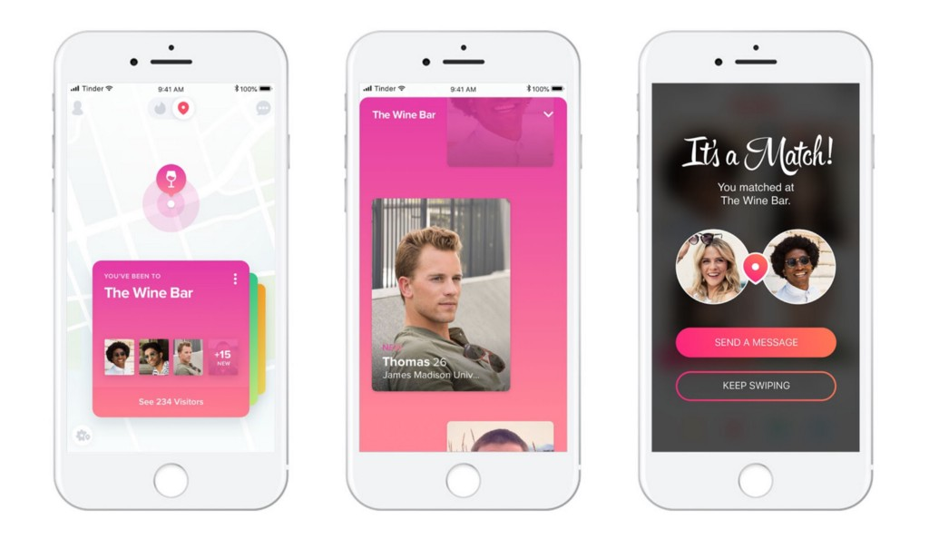 mobile app screenshots of Tinder using Foursquare