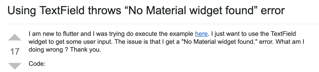 "Uno screenshot di una domanda pubblicata su StackOverflow relativa all'errore ""No Material widget found""."