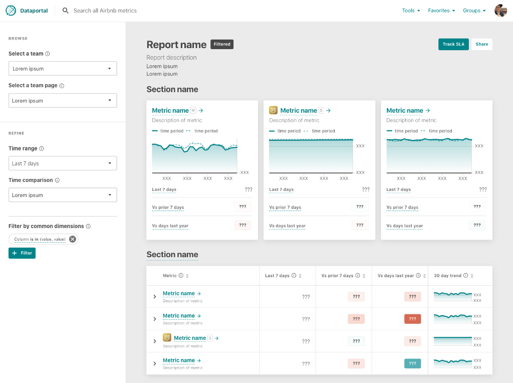 The Metric Explorer UI, showing highlighted metrics in cards with line charts, and other metrics in a table