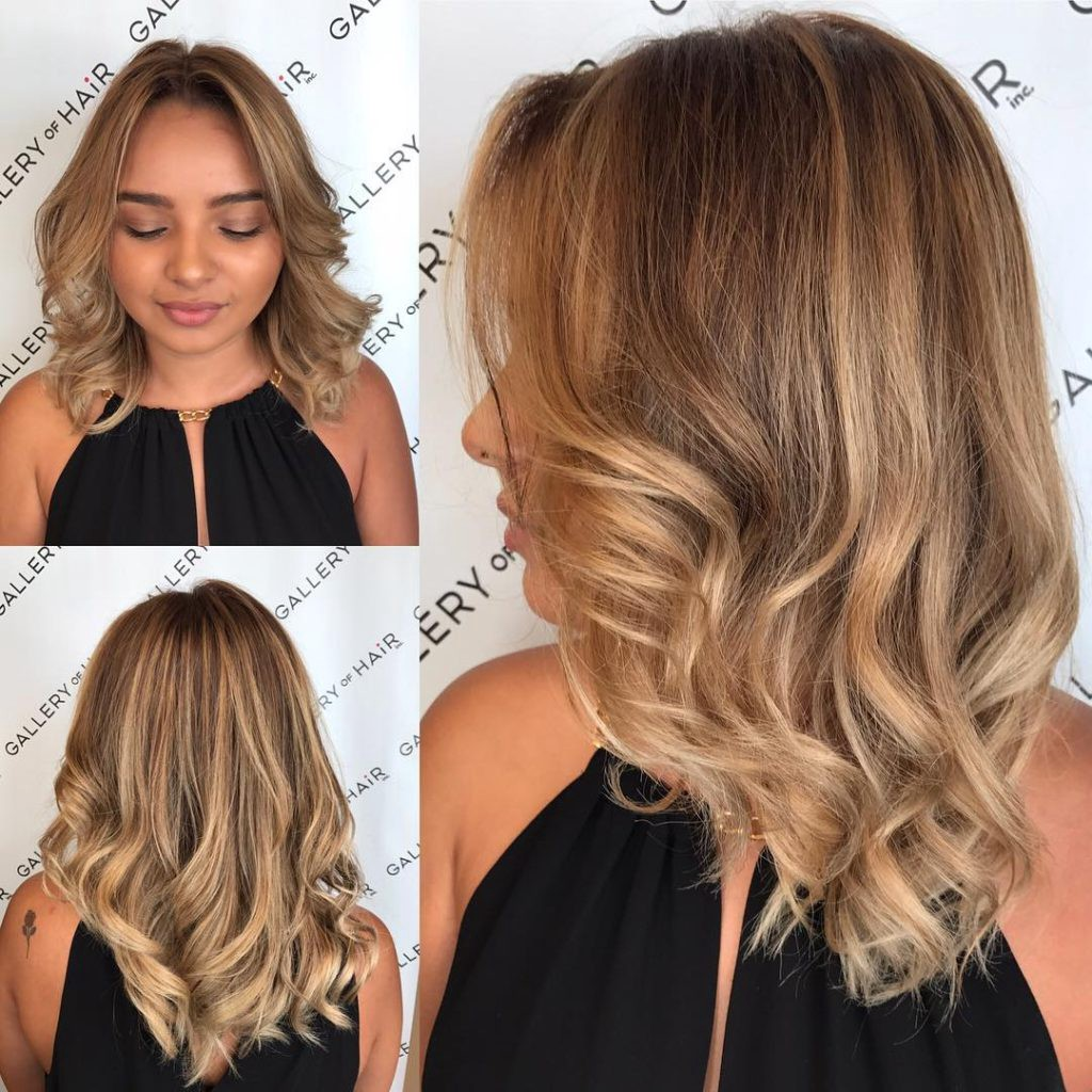 Blonde Sun Kissed Layered Cut With Large Soft Waves And Parted Face
