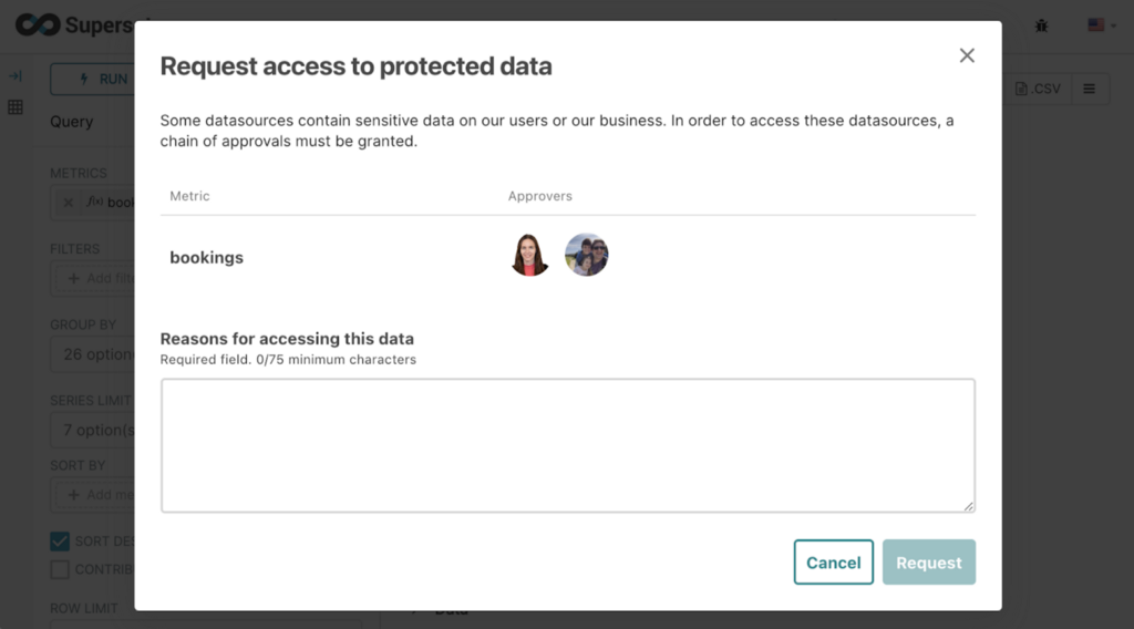 A modal where the user can request access to protected data, with information about who will approve their request