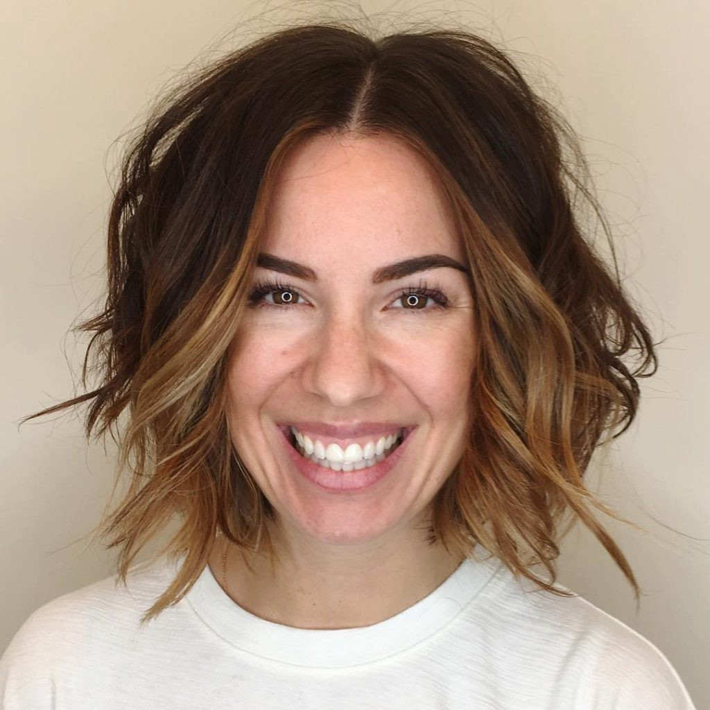 Slightly Angled Soft Layer Bob With Undone Wavy Texture And Face