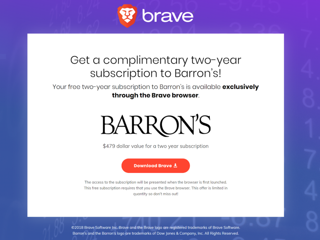 Dow Jones Media Group Partners With Brave Software To Offer Premium Content To Users and Test…