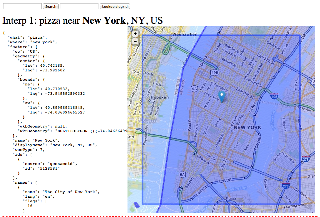 code and map identifying where pizza is in New York, New York