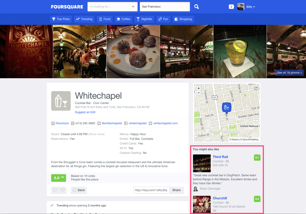 screenshot of Whitechapel listing on Foursquare City Guide