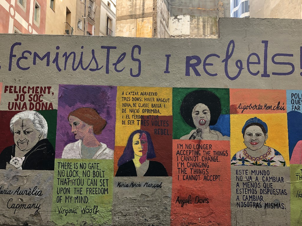 feminist wall with quotations from Angela Davis, Virginia Woolf and others