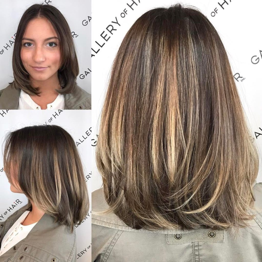 Brunette Layered Blowout Bob with Face Framing Layers and Color Melt ...