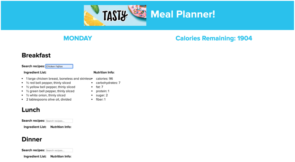 Screenshot of the tasty meal planner, showing a recipe planner and calorie count for that day's meals.