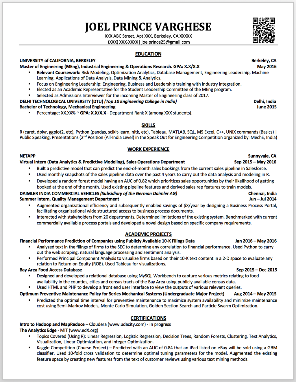 My first data science resume sample data scientist resume   Fung ...