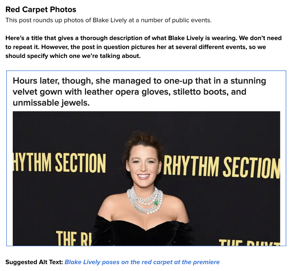An image of Blake Lively on the red carpet with notes on how to describe the image for alt text.