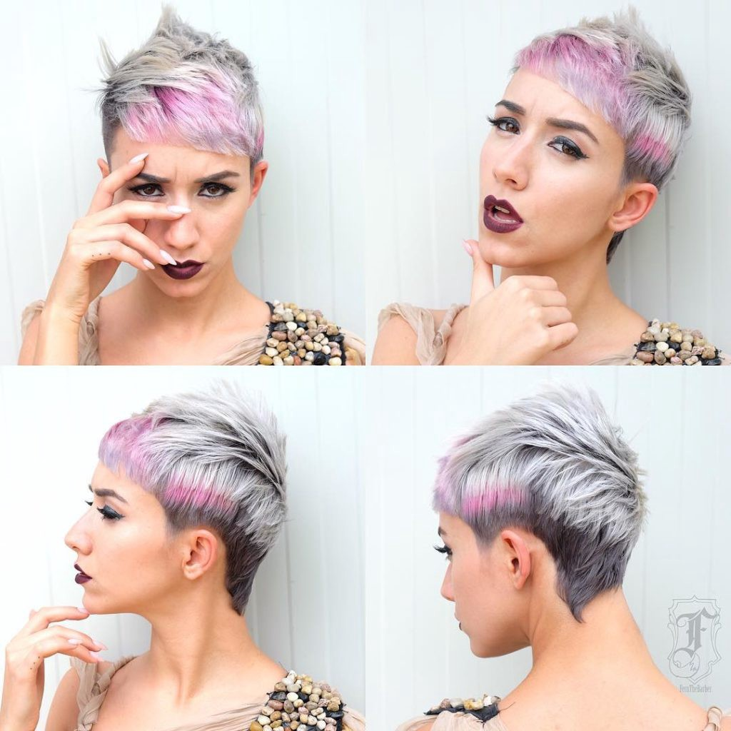 Modern Textured Mullet With Silver Grey Shade And Pink Highlights