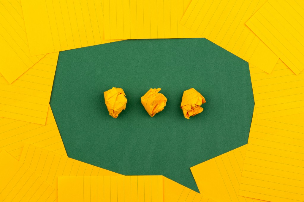 Photo of a speech bubble image made with paper