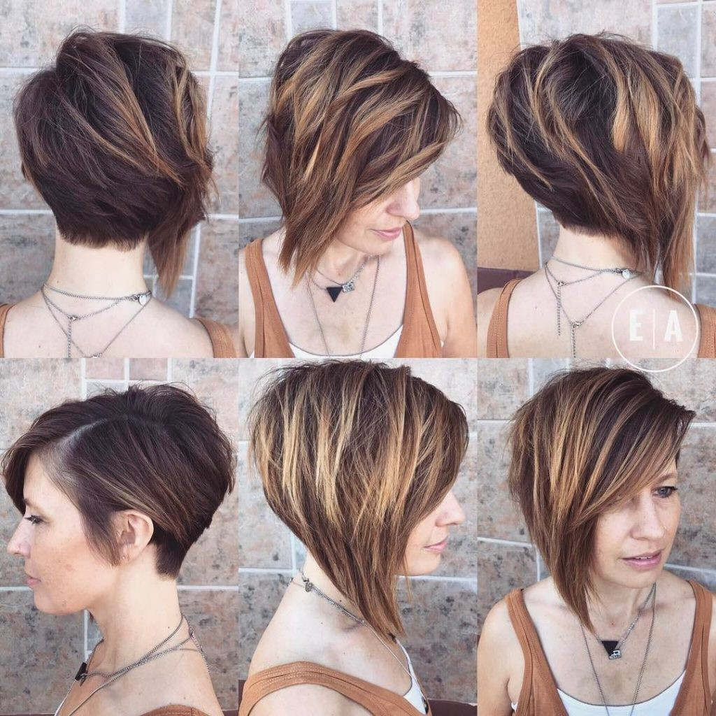 Dramatic Asymmetric Textured Bob With Side Swept Bangs And Highlights