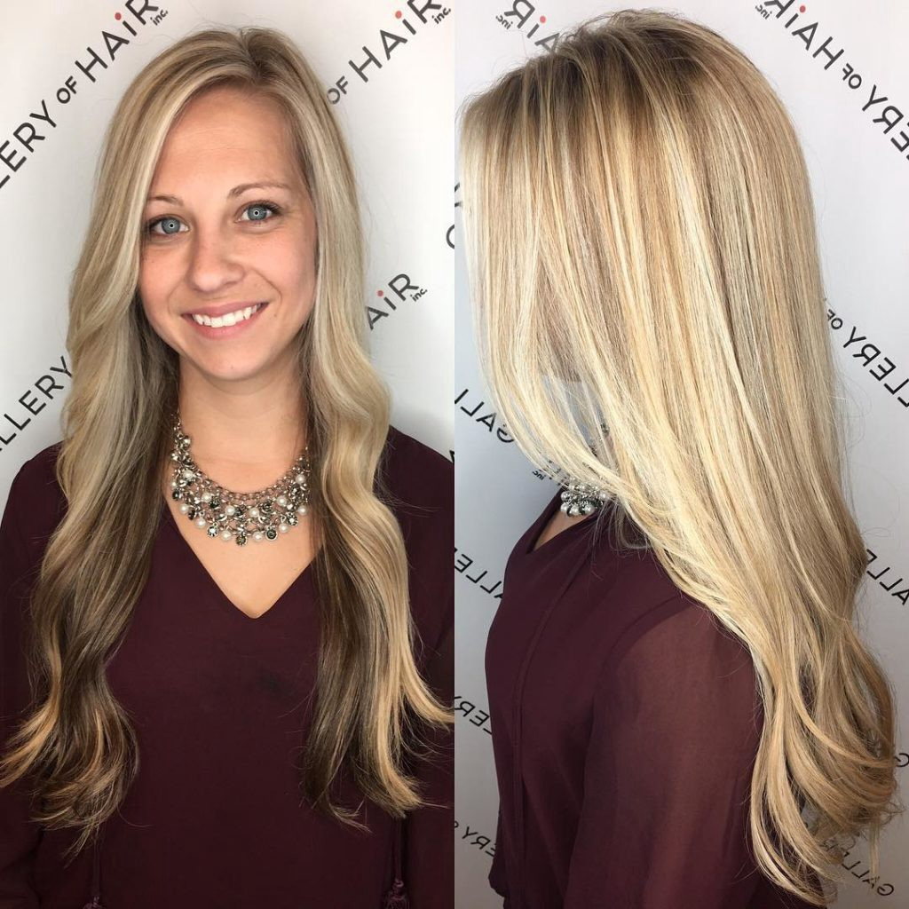 Long Blonde Highlighted Hair With Front Layers And Soft Waves
