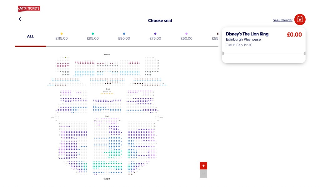A screenshot of what ATG's seat booking of Disney's The Lion King