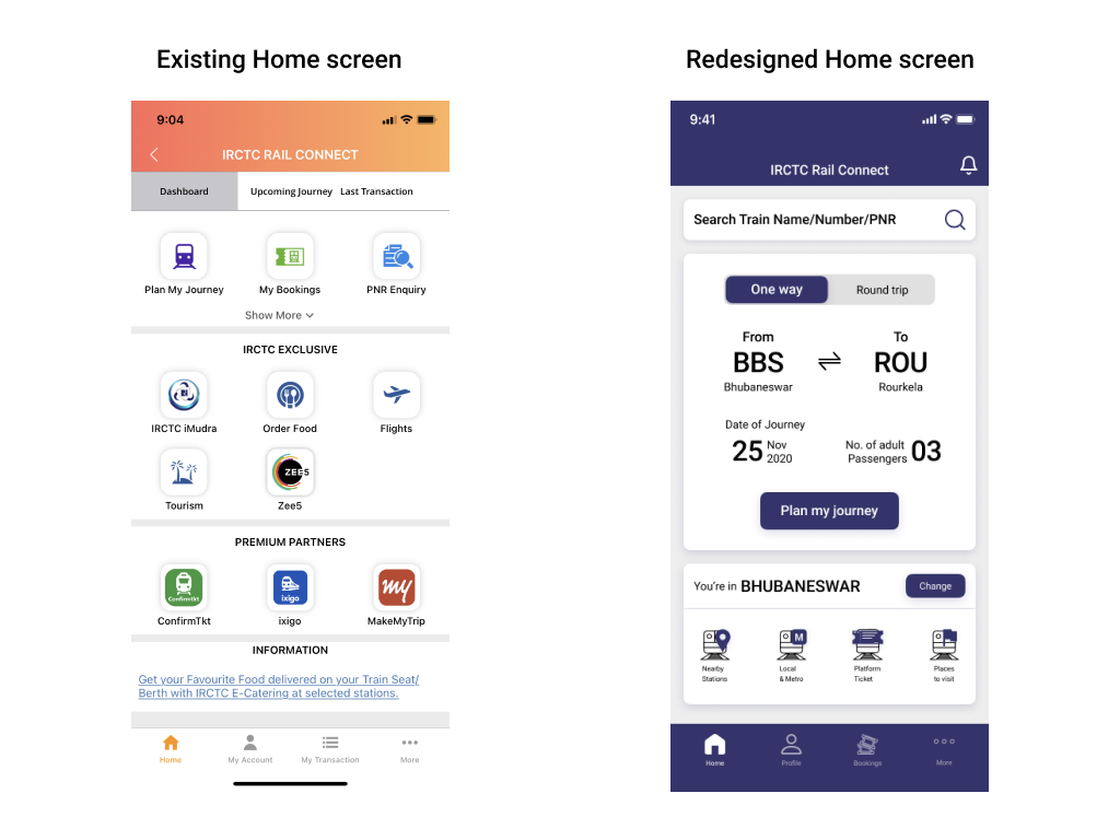 Two mobile screens showing home screen