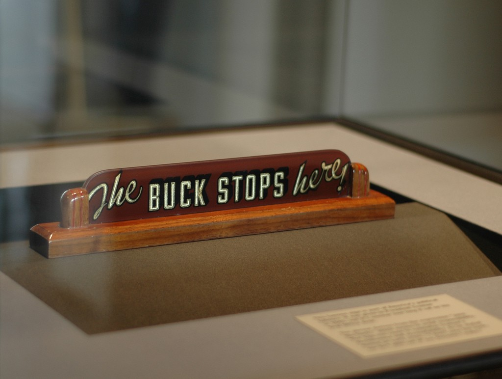 The Plaque Buck Stops Here That Was On President Truman S Desk In His White House Office