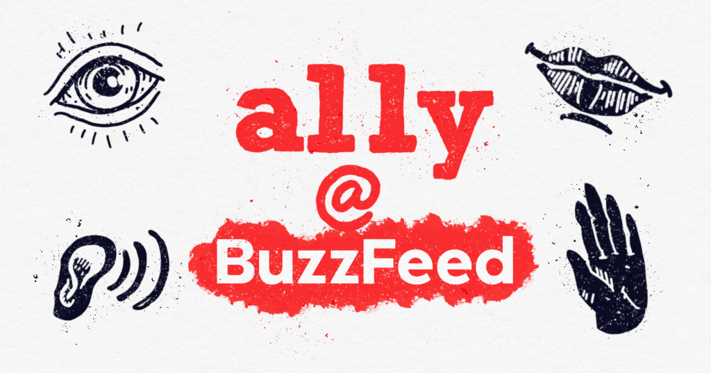 """The words """"accessibility at BuzzFeed"""" surrounded by an illustrated eye, mouth, ear, and hand."""