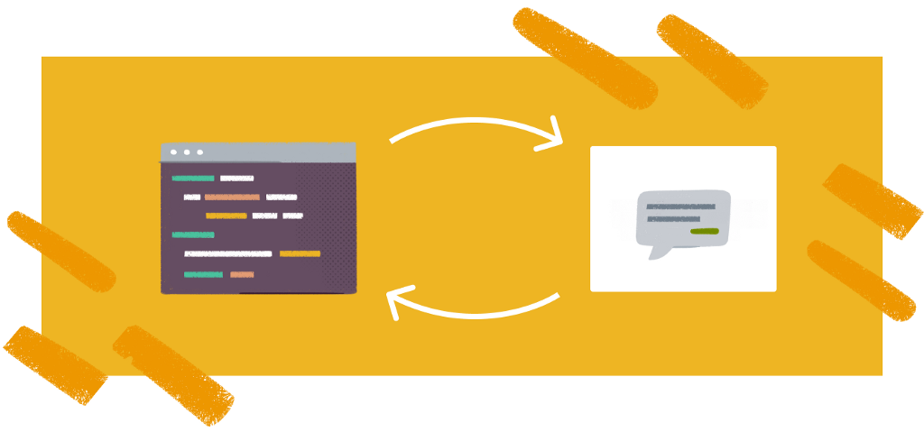 Illustration of a code editor and a speech bubble side-by-side