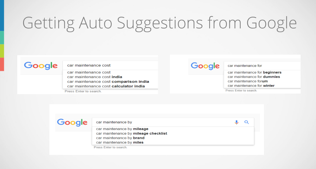 Auto suggestions by Google on Car Maintenance