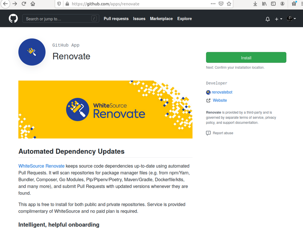 Scanning private and public Github Repositories—WhiteSource Renovate