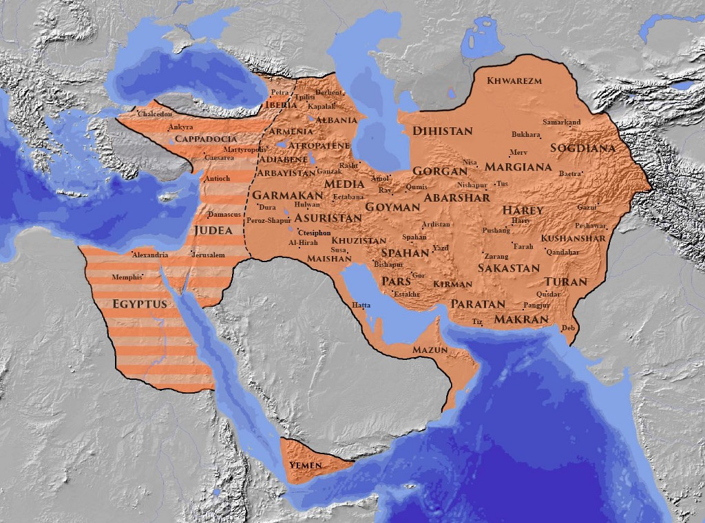 The Sasanian Empire at its greatest extent c. 620 CE., under Khosrau II
