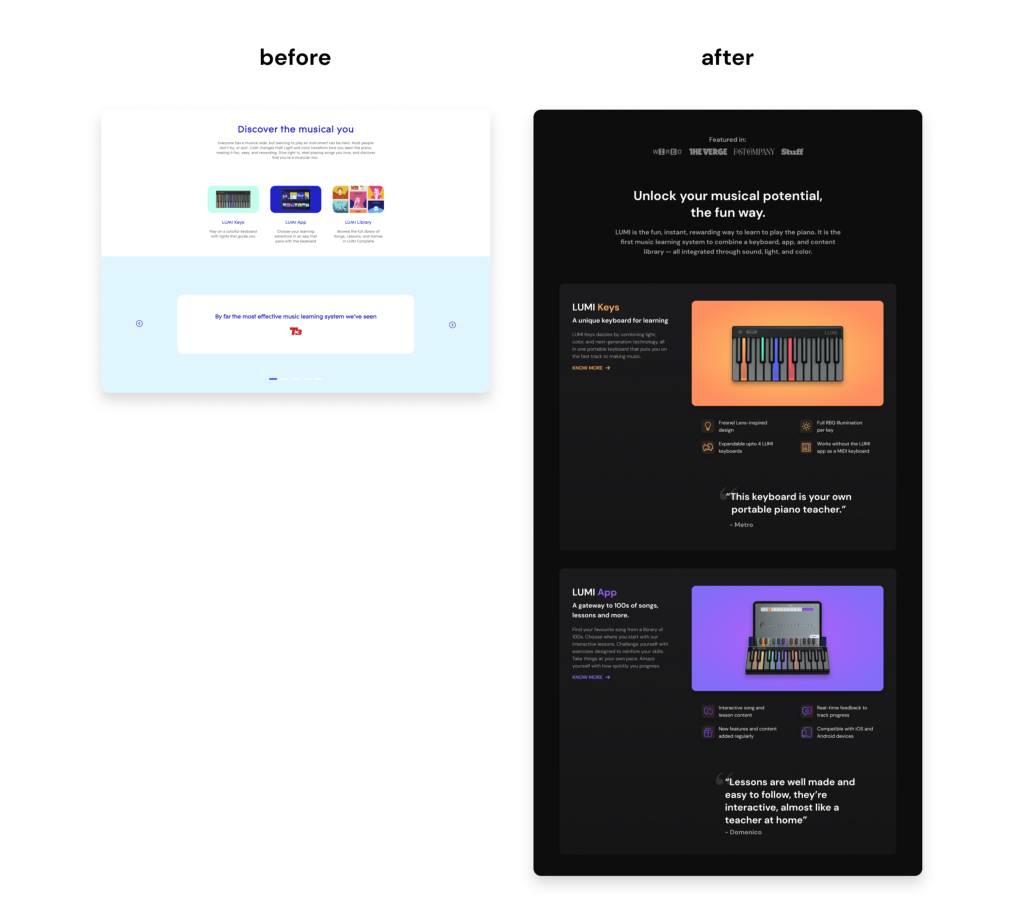 2 landing pages kept adjacent to each other for comparison