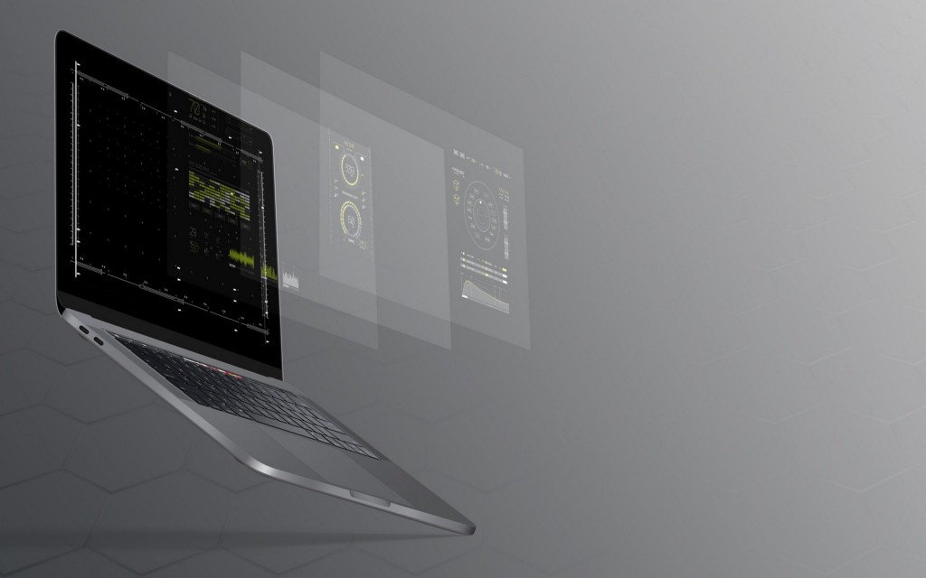Picture of laptop with data shown