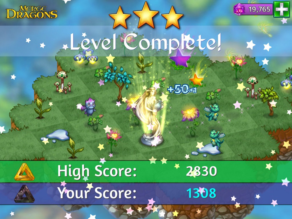 Merge Dragons level complete screen