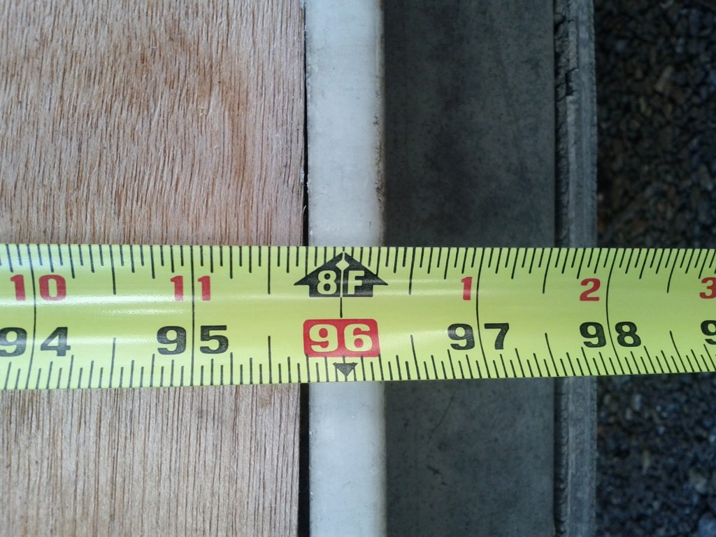 Tape measure at 8 ft. mark.