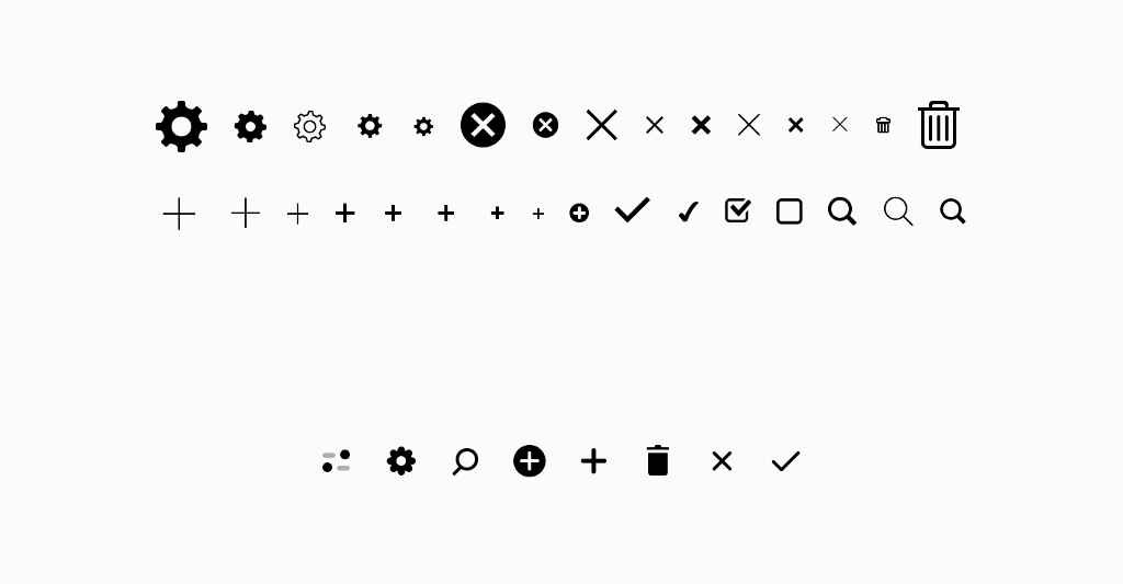 A selection of icons used in Voog's UI before (up) and after (below) building the design system
