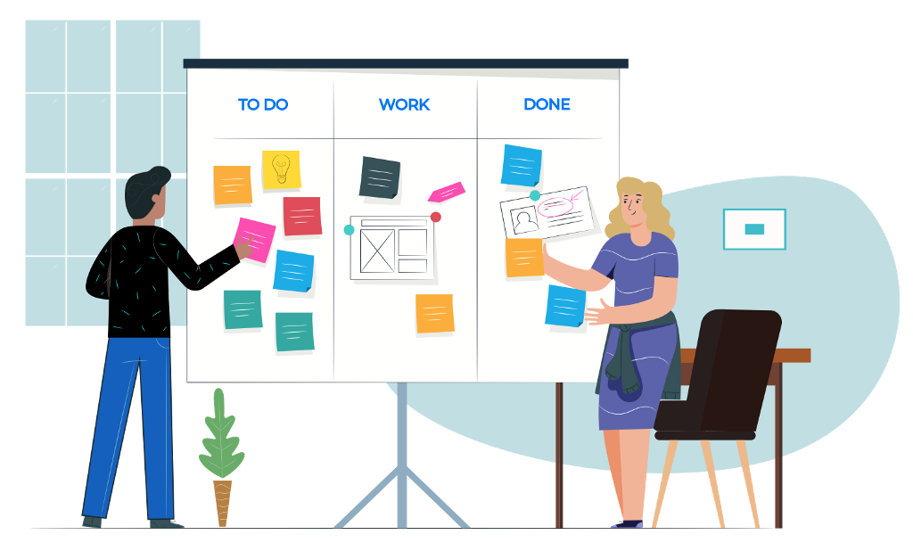 Illustration of a Kanban board and people moving sticky notes