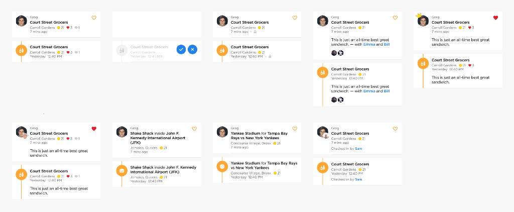 Swarm check-in feed cell comparisons from the timeline and friends tab