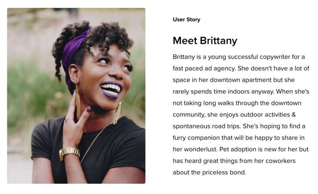 User Story Brittany is a young successful copywriter for a fast paced ad agency. She doesn't have a lot of space in her downtown apartment but she rarely spends time indoors anyway. When she's not taking long walks through the downtown community, she enjoys outdoor activities & spontaneous road trips. She's hoping to find a furry companion that will be happy to share in her wonderlust. Pet adoption is new for her but has heard great things from her coworkers about the priceless bon