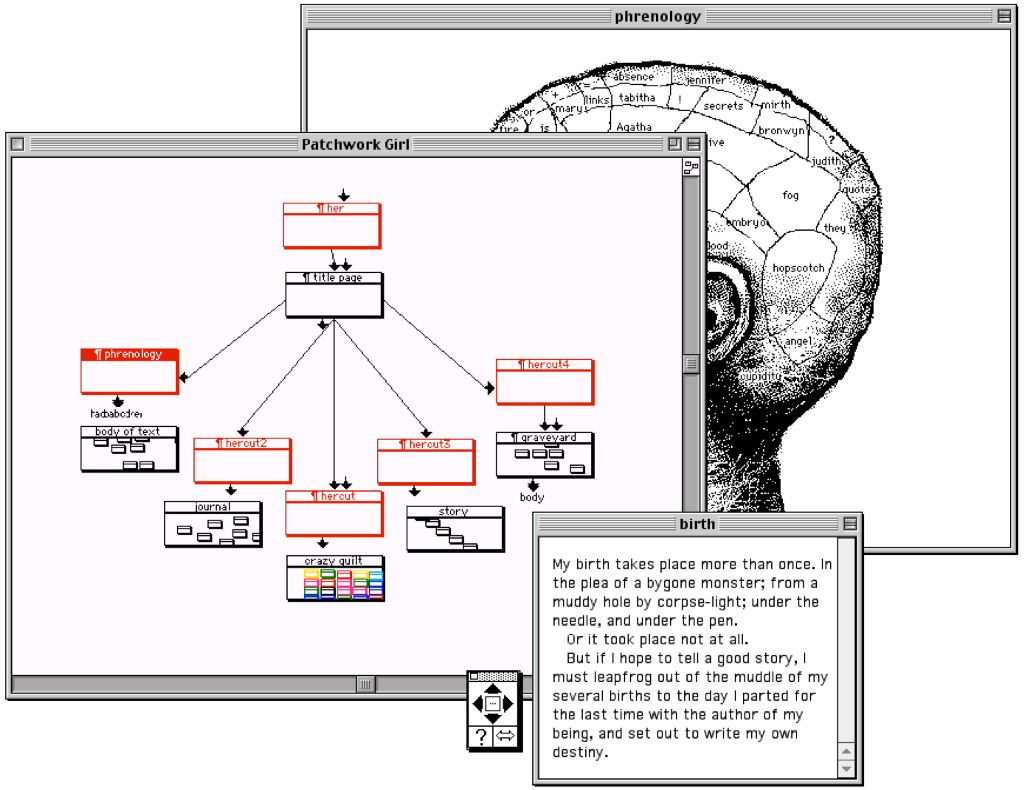 A screenshot of Patchwork girl showing multiple overlapping windows, some with text and some with a diagram of linked nodes.