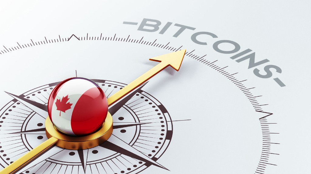 A compass representing Canada points towards cryptocurrencies