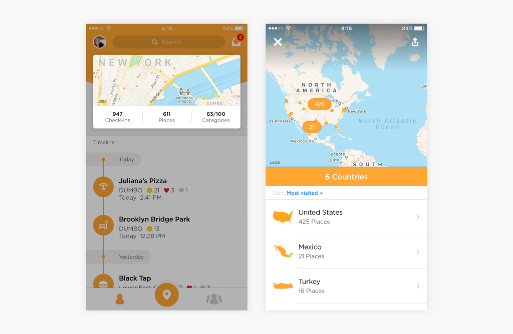 Swarm homepage preview card and map