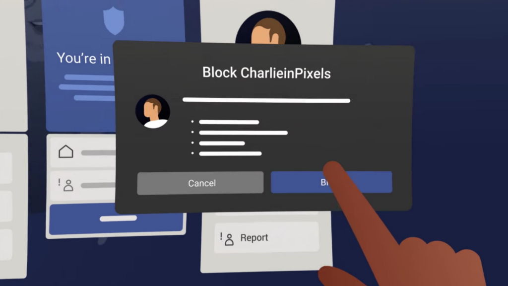 An in-platform screenshot shows a hand pressing a button that says block.
