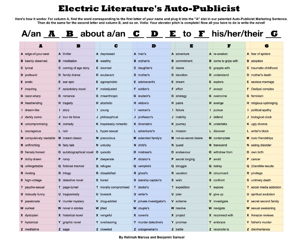 This Handy Chart Automatically Generates a Pitch for Your New Novel