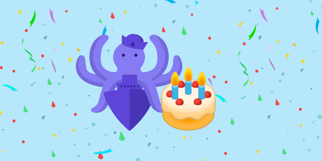 SSO (S.S. Octopus) logo with a birthday cake, confetti in the background