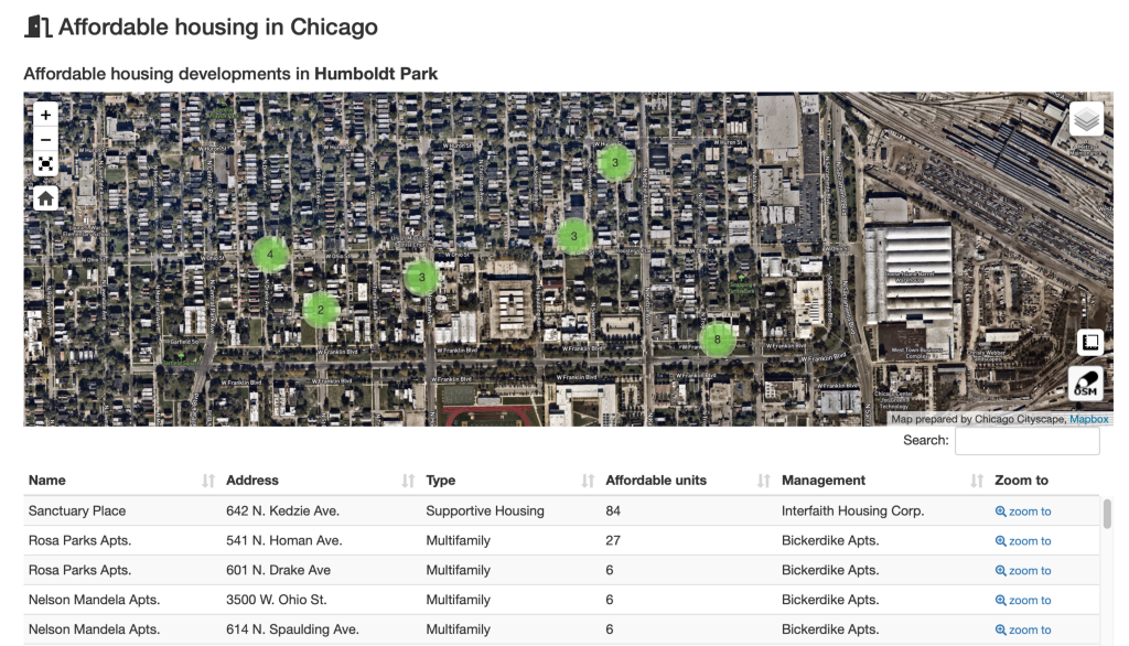 Screenshot of a map showing the location of affordable housing developments in part of Humboldt Park.