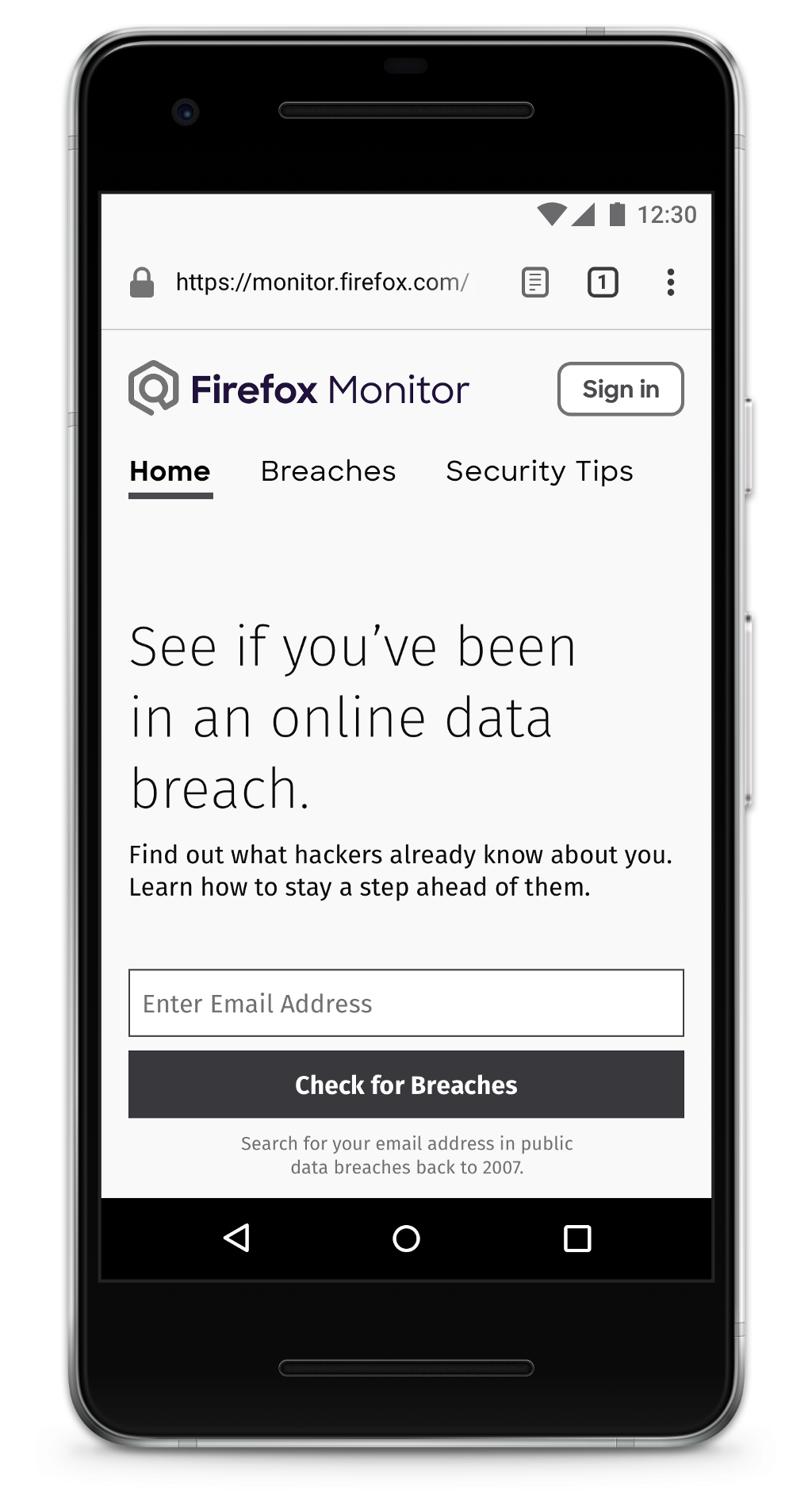 Mobile wireframe of the Firefox Monitor homepage.