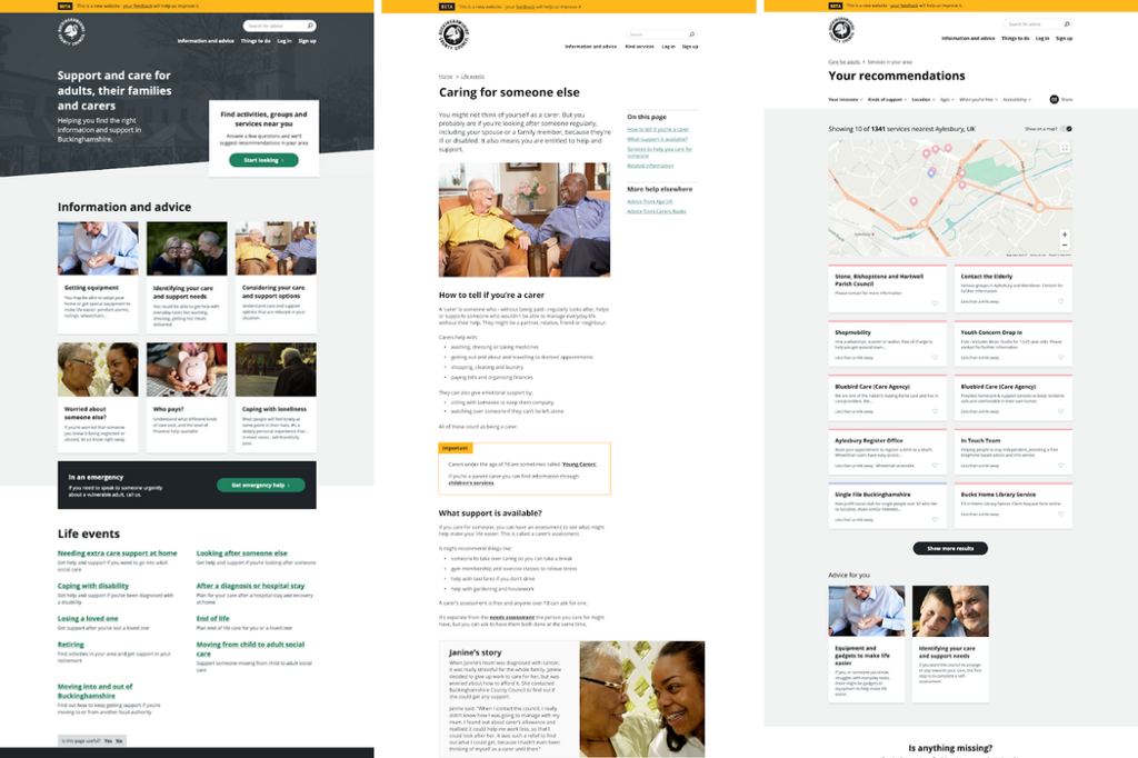 The CareAdviceBucks website, showing information of local support available